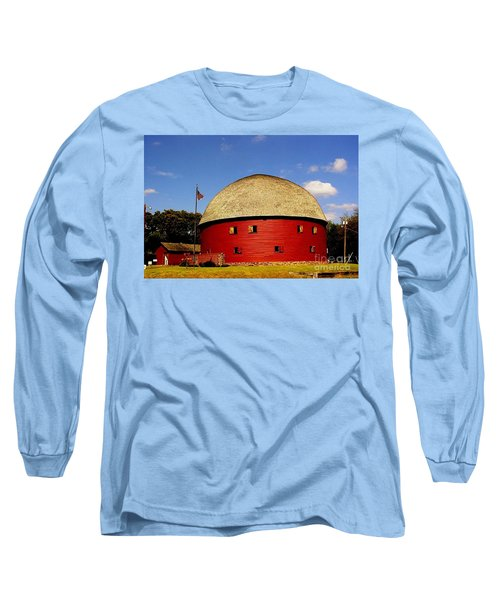 Long Sleeve T-Shirt featuring the photograph 100 Year Old Round Red Barn  by Janette Boyd