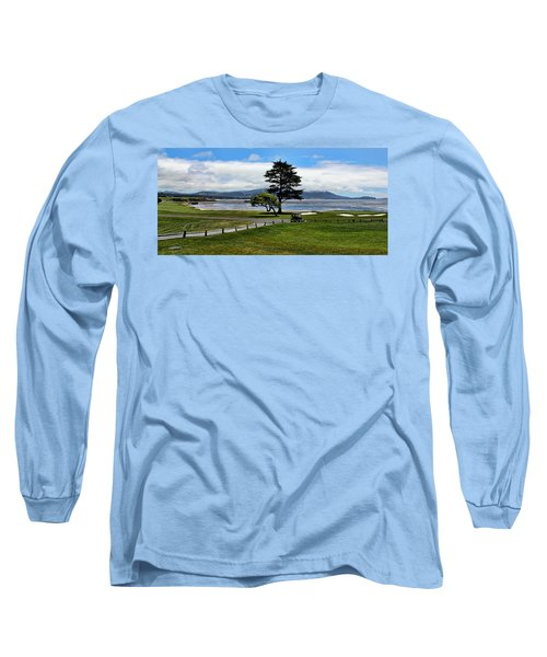 18th At Pebble Beach Panorama Long Sleeve T-Shirt by Judy Vincent