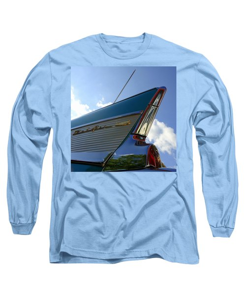 1957 Chevrolet Bel Air Fin Long Sleeve T-Shirt by Joseph Skompski