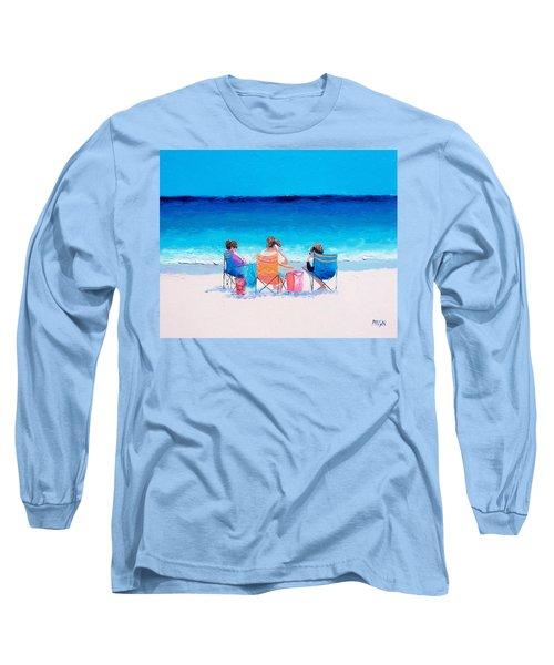 Beach Painting 'girl Friends' By Jan Matson Long Sleeve T-Shirt