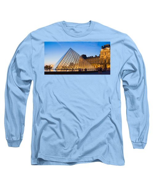 Pyramid In Front Of A Museum, Louvre Long Sleeve T-Shirt by Panoramic Images