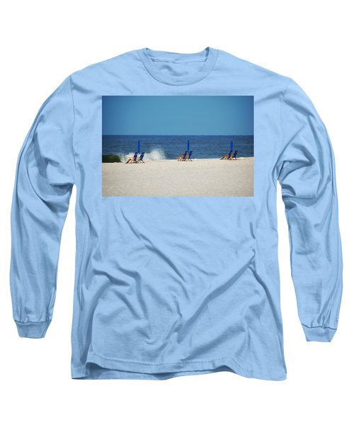 Long Sleeve T-Shirt featuring the digital art 6 Chairs And Umbrella by Michael Thomas