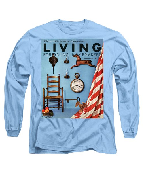A Blue Wall With Decorations Long Sleeve T-Shirt