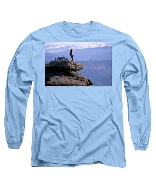 A Female Mountain Biker Stands Long Sleeve T-Shirt