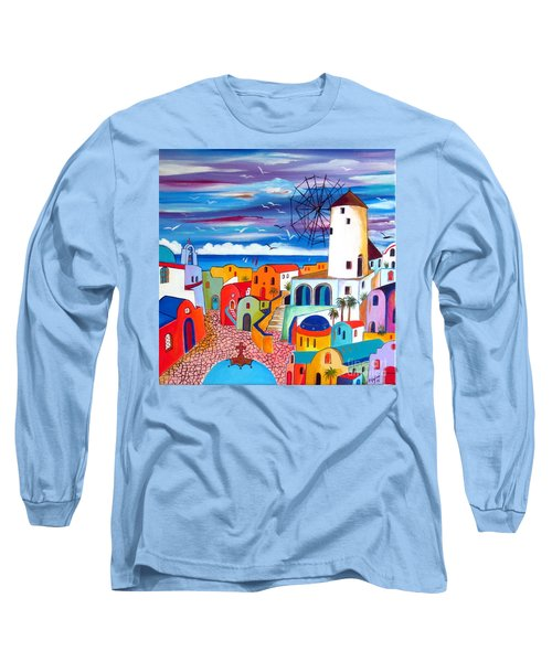 A Greek Mill And The Colors Of Oia Santorini  Long Sleeve T-Shirt