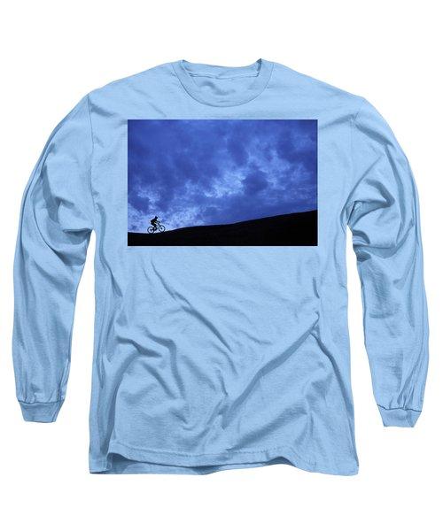 A Silhouette Of A Woman Mountain Biking Long Sleeve T-Shirt