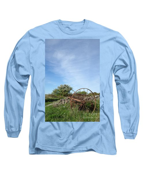 Long Sleeve T-Shirt featuring the photograph Abandoned Old Horse Rake  by Kennerth and Birgitta Kullman