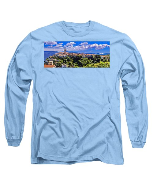 Adriatic Town Of Vrbnik Panoramic View Long Sleeve T-Shirt