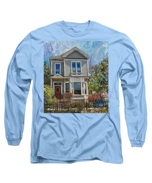 Long Sleeve T-Shirt featuring the painting Alameda 1892 Queen Anne by Linda Weinstock