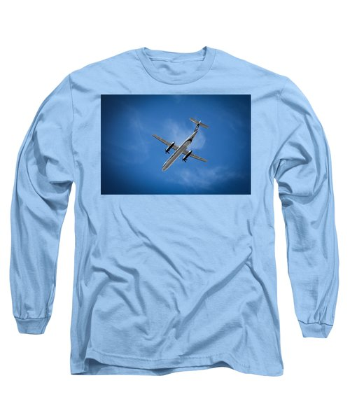 Blue Long Sleeve T-Shirt featuring the photograph Alaska Airlines Turboprop by Aaron Berg
