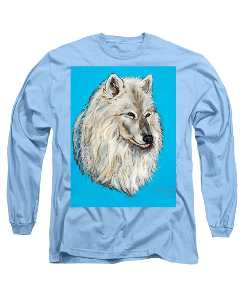 Long Sleeve T-Shirt featuring the painting Alaska White Wolf by Bob and Nadine Johnston