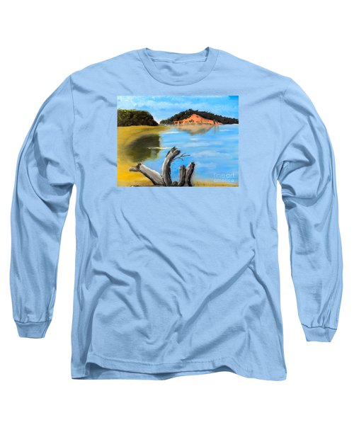 Long Sleeve T-Shirt featuring the painting Allonah Beach Tasmania by Pamela  Meredith