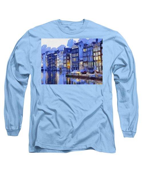 Amsterdam With Blue Colors Long Sleeve T-Shirt by Georgi Dimitrov
