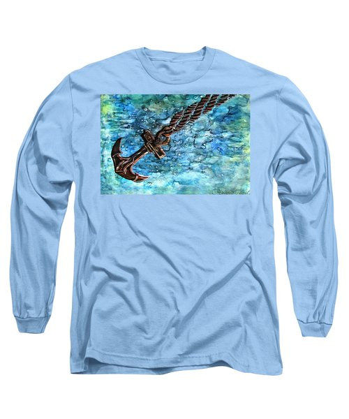 Anchor Under Water Alcohol Inks Long Sleeve T-Shirt by Danielle  Parent