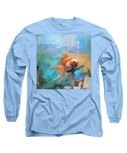 Aqua Gold Long Sleeve T-Shirt by Catf