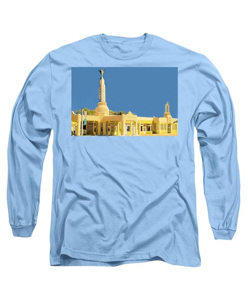 Long Sleeve T-Shirt featuring the photograph Art Deco Gas Station by Janette Boyd