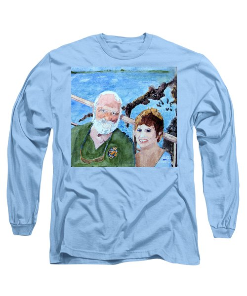 Long Sleeve T-Shirt featuring the painting At The Dock Of The Bay by Sandy McIntire