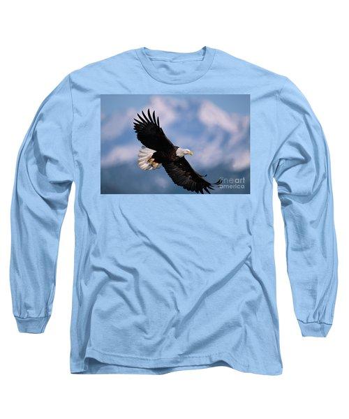 Bald Eagle Flying Kachemak Bay Long Sleeve T-Shirt