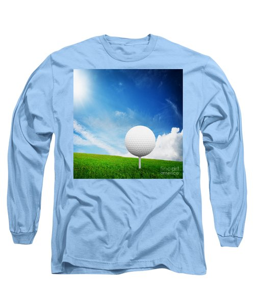 Ball On Tee On Green Golf Field Long Sleeve T-Shirt