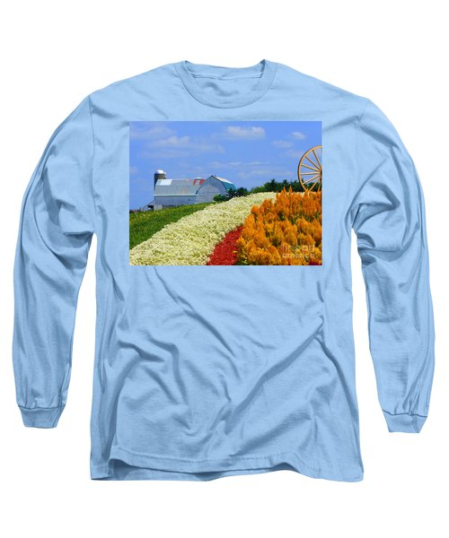 Barn And Quilt Garden Long Sleeve T-Shirt by Tina M Wenger