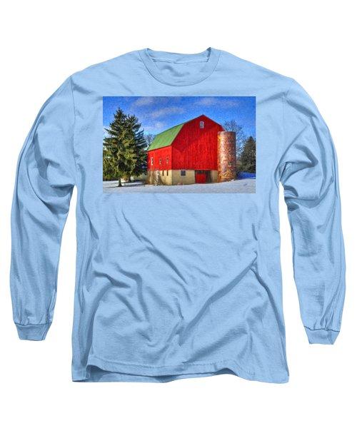 Barn In Winter Long Sleeve T-Shirt