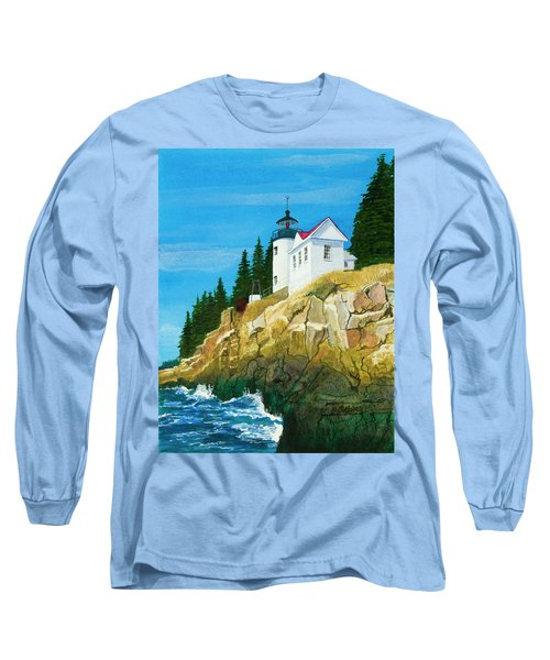 Bass Harbor Lighthouse Long Sleeve T-Shirt by Mike Robles