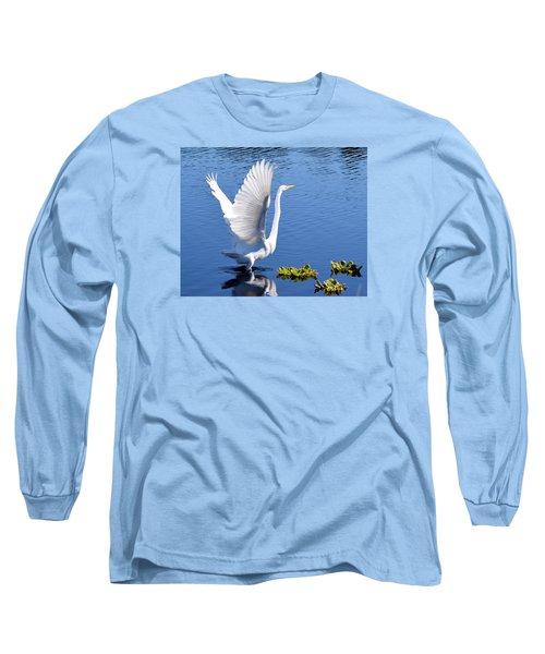 Beautiful Grest White Egret Long Sleeve T-Shirt