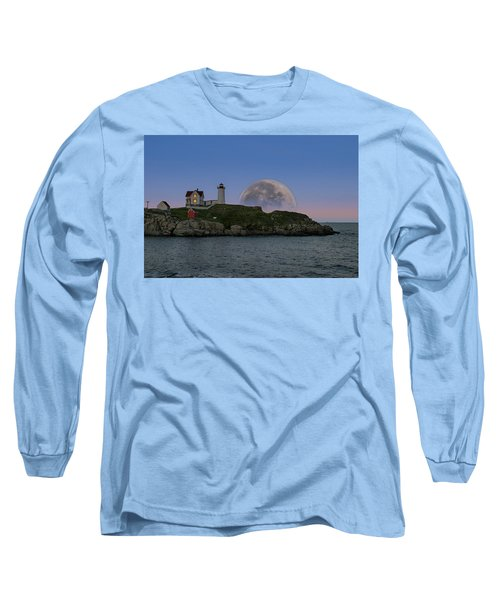 Big Moon Over Nubble Lighthouse Long Sleeve T-Shirt by Jeff Folger