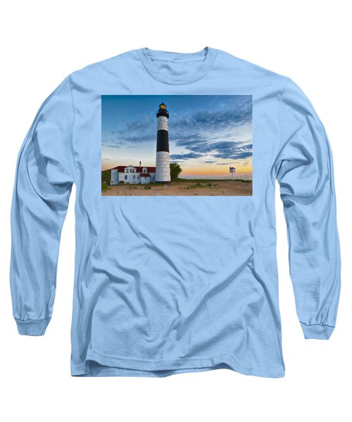 Long Sleeve T-Shirt featuring the photograph Big Sable Point Lighthouse Sunset by Sebastian Musial