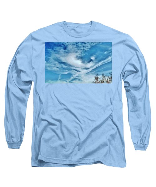 Bird Cloud Soaring By Long Sleeve T-Shirt by Angela J Wright