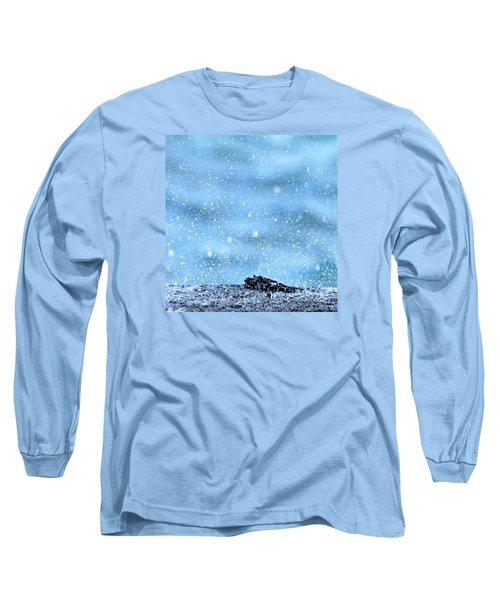 Black Crab In The Blue Ocean Spray Long Sleeve T-Shirt by Lehua Pekelo-Stearns