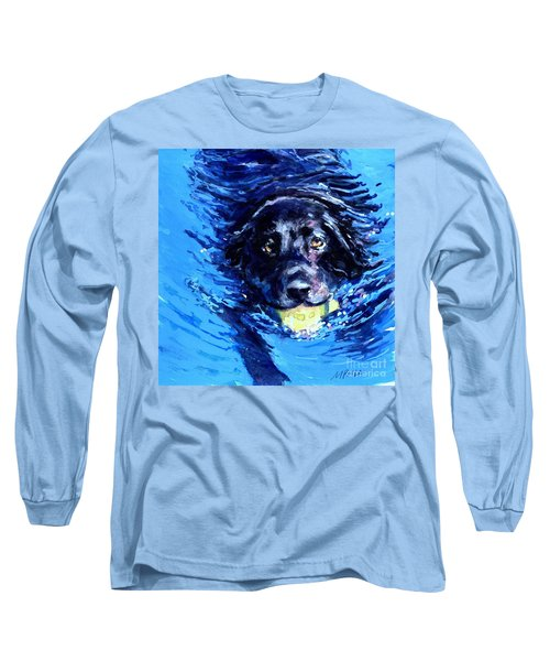 Black Lab  Blue Wake Long Sleeve T-Shirt by Molly Poole