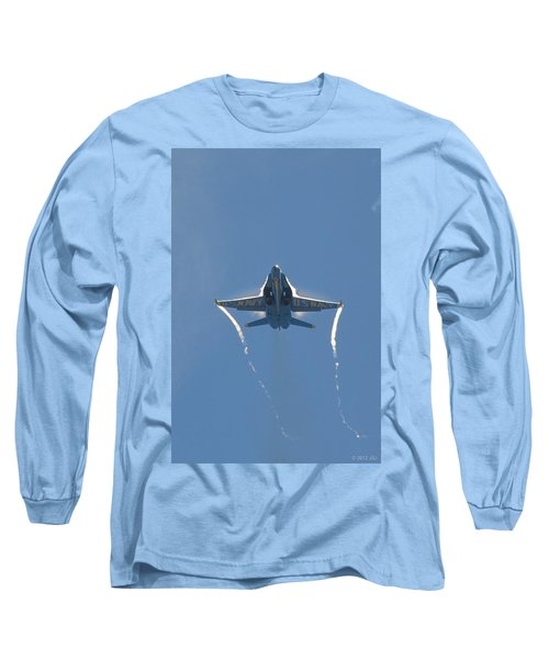 Long Sleeve T-Shirt featuring the photograph Blue Angels Ghost Appears Head-on Over Pensacola Beach by Jeff at JSJ Photography