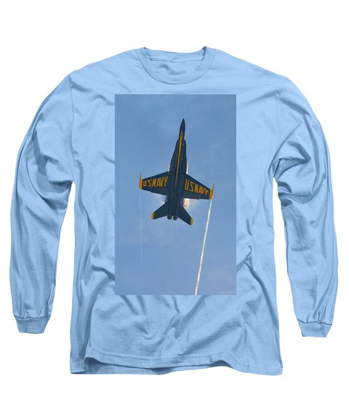 Long Sleeve T-Shirt featuring the photograph Blue Angels Ghost Appears Over Pensacola Beach by Jeff at JSJ Photography