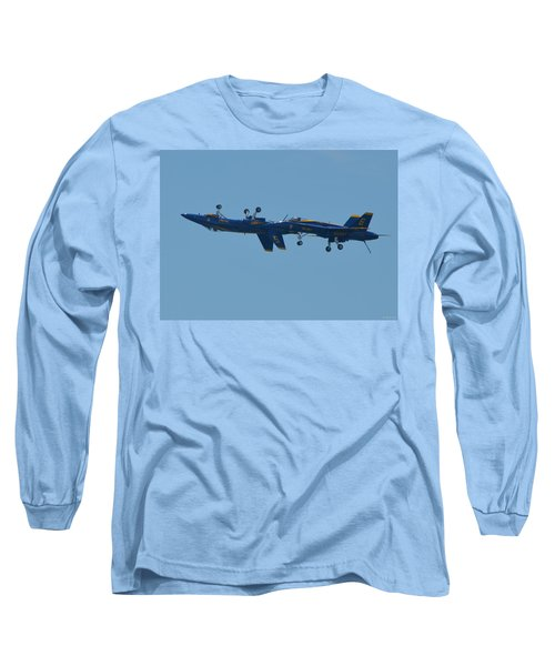 Long Sleeve T-Shirt featuring the photograph Blue Angels Practice Up And Down With Low And Slow by Jeff at JSJ Photography