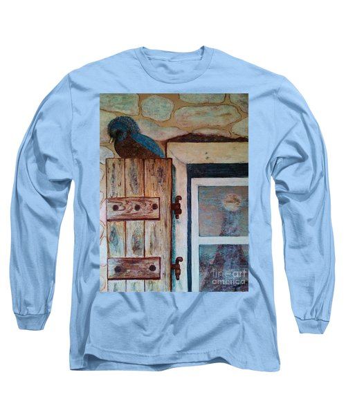 Long Sleeve T-Shirt featuring the painting Blue Bird by Jasna Gopic