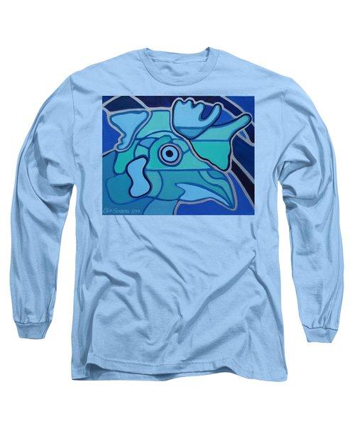 Blue Chicken Abstract Long Sleeve T-Shirt