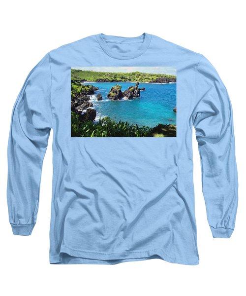Long Sleeve T-Shirt featuring the photograph Blue Hawaiian Lagoon Near Blacksand Beach On Maui by Amy McDaniel