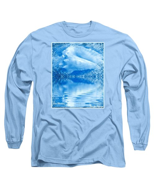 Long Sleeve T-Shirt featuring the mixed media Blue Healing by Ray Tapajna