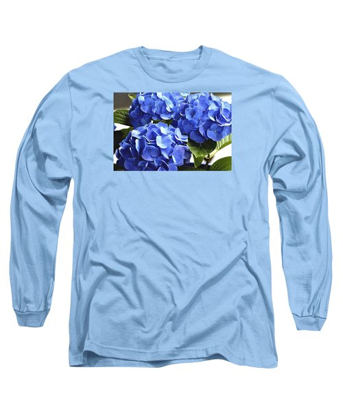 Blue Hydrangea Long Sleeve T-Shirt by Lehua Pekelo-Stearns