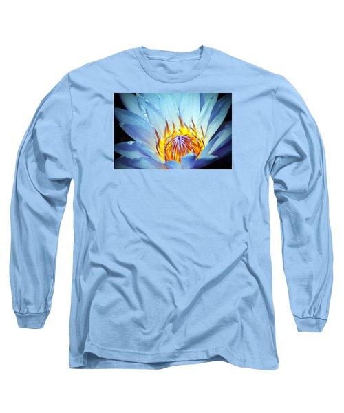 Blue Lotus Long Sleeve T-Shirt by Cynthia Guinn