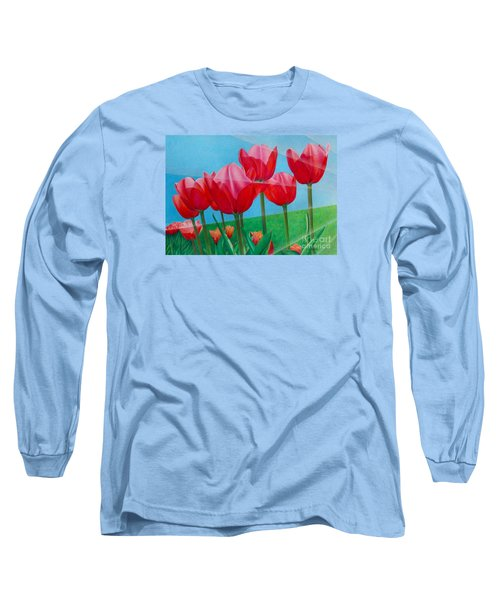 Blue Ray Tulips Long Sleeve T-Shirt by Pamela Clements