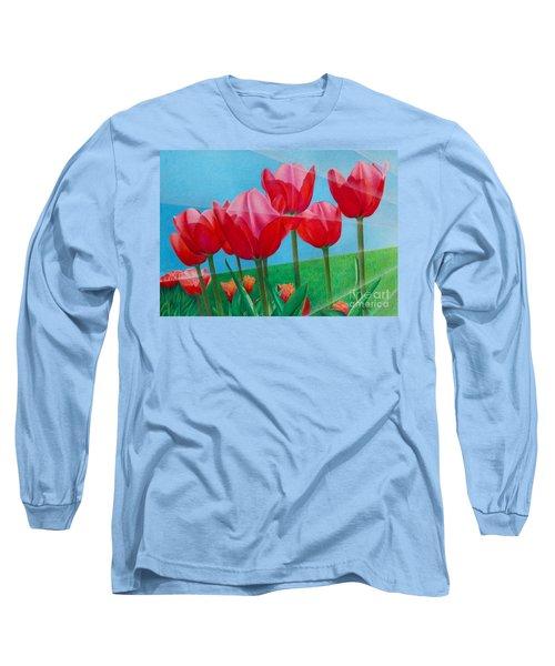 Blue Ray Tulips Long Sleeve T-Shirt