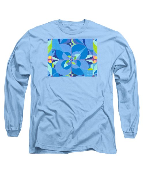 Long Sleeve T-Shirt featuring the drawing Blue Unity by Kim Sy Ok