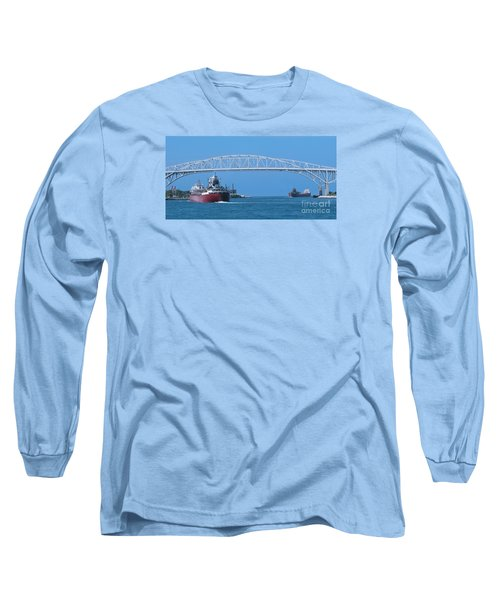 Blue Water Bridge And Freighters Long Sleeve T-Shirt by Ann Horn