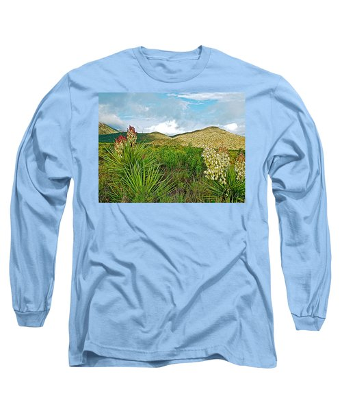 Blue Yucca And Chisos Mountains In Big Bend National Park-texas Long Sleeve T-Shirt