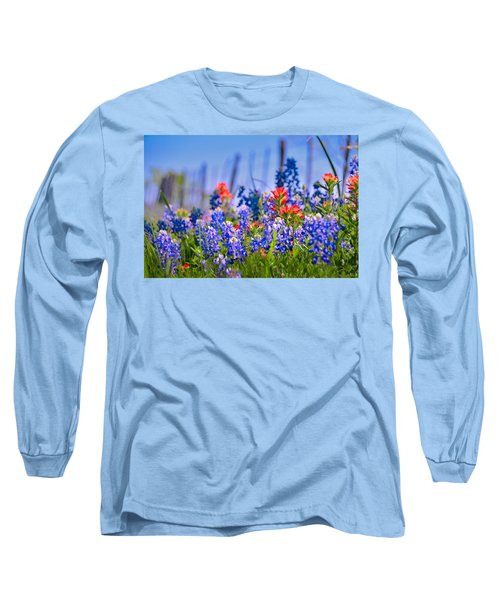 Long Sleeve T-Shirt featuring the photograph Bluebonnet Paintbrush Texas  - Wildflowers Landscape Flowers Fence  by Jon Holiday