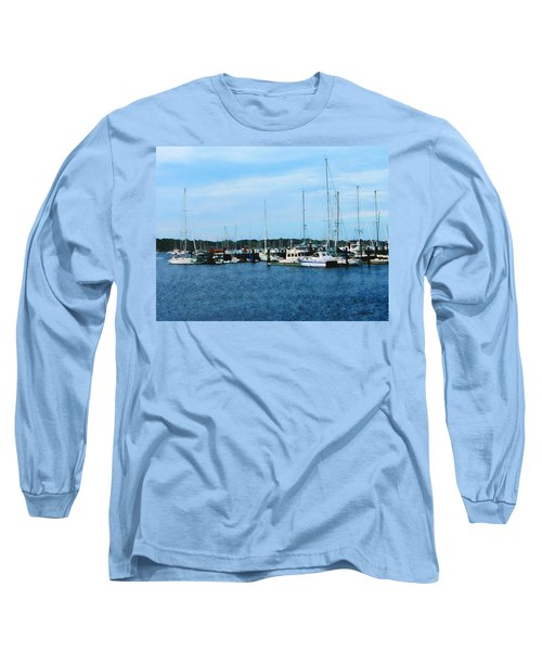 Long Sleeve T-Shirt featuring the photograph Boats At Newport Ri by Susan Savad