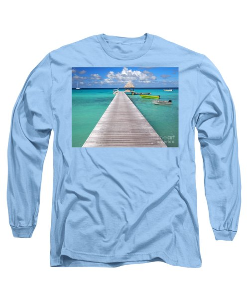 Boats At The Jetty In A Tropical Turquoise Lagoon Long Sleeve T-Shirt