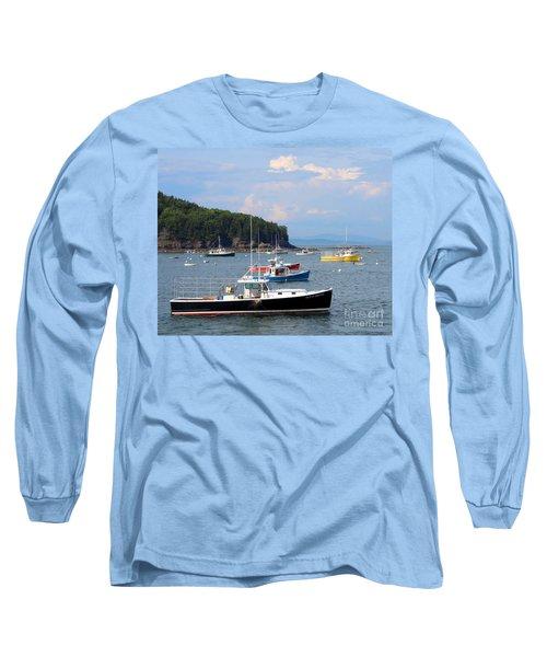 Boats In Bar Harbor Long Sleeve T-Shirt
